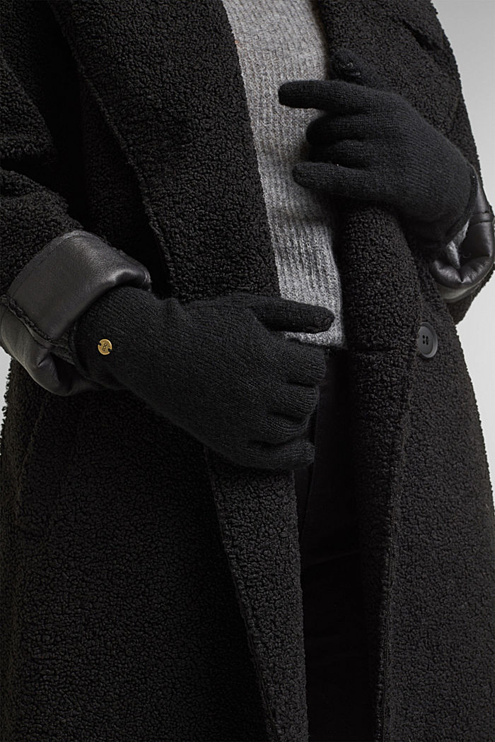 Recycled: knit touchscreen gloves, BLACK, detail image number 2