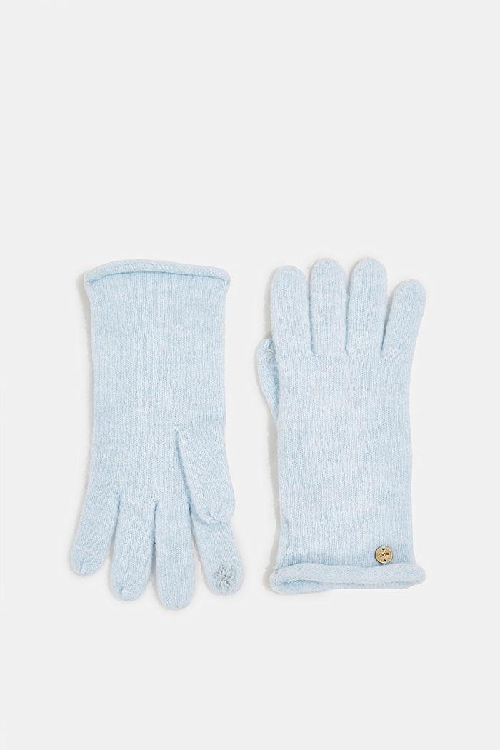 Kierrätettyä: kosketusnäyttökäsineet neuletta, PASTEL BLUE, detail image number 0