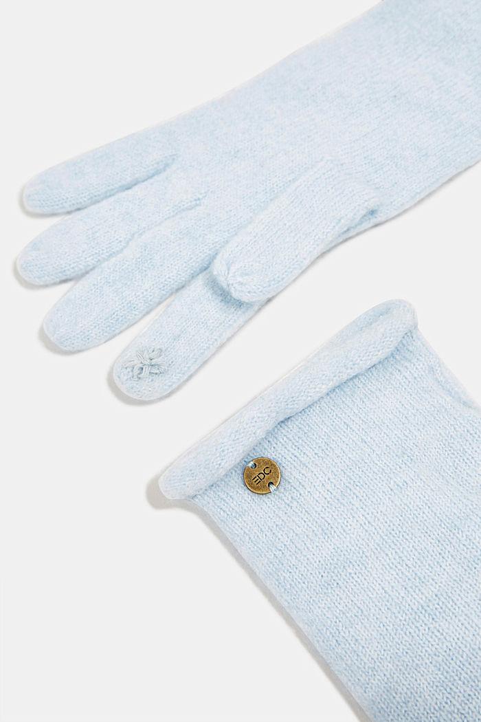 Kierrätettyä: kosketusnäyttökäsineet neuletta, PASTEL BLUE, detail image number 1