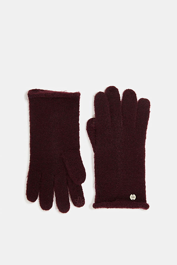 Recycled: knit touchscreen gloves, AUBERGINE, detail image number 0