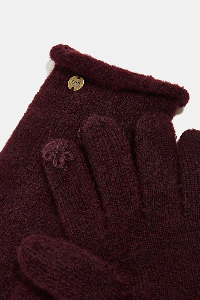Recycled: knit touchscreen gloves, AUBERGINE, detail image number 1