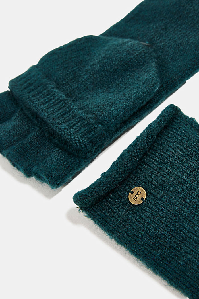 Recycled: 2-in-1 gloves, DARK TEAL GREEN, detail image number 1