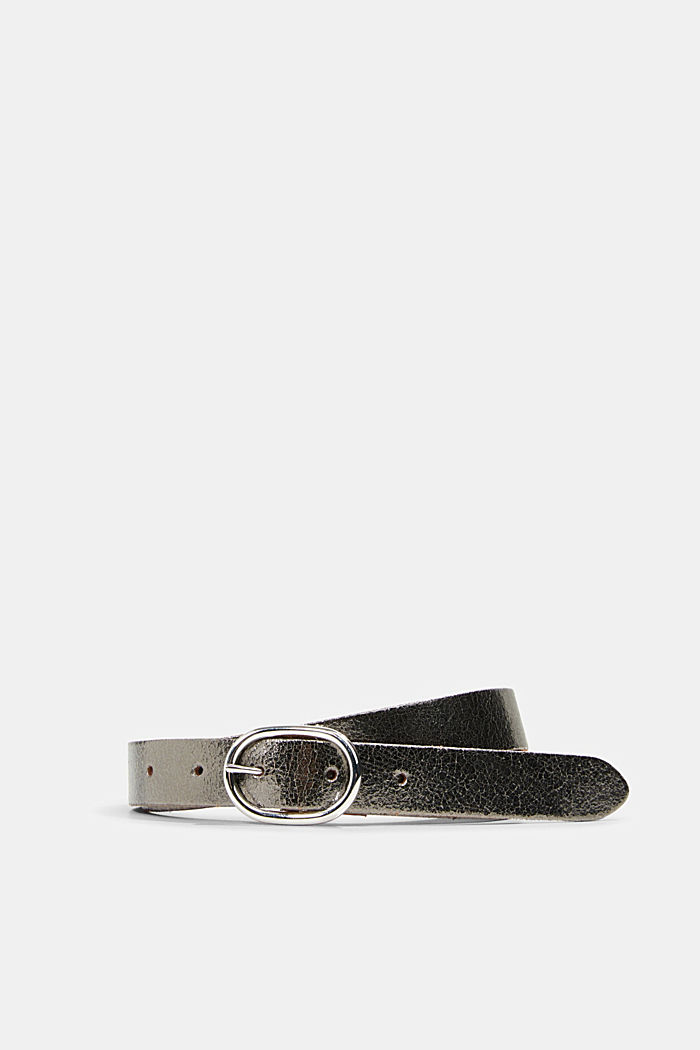 Metallic belt with a cracked effect, DARK GREY, detail image number 0