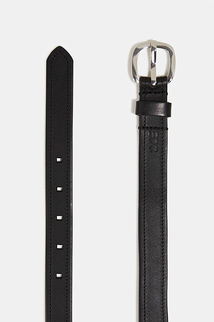 Gürtel aus Leder mit Ziernähten, BLACK, detail image number 1