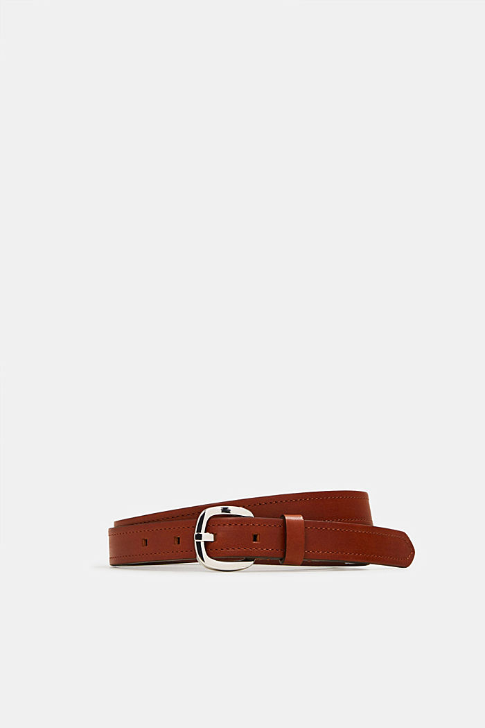 Leather belt with decorative stitching, TERRACOTTA, detail image number 0