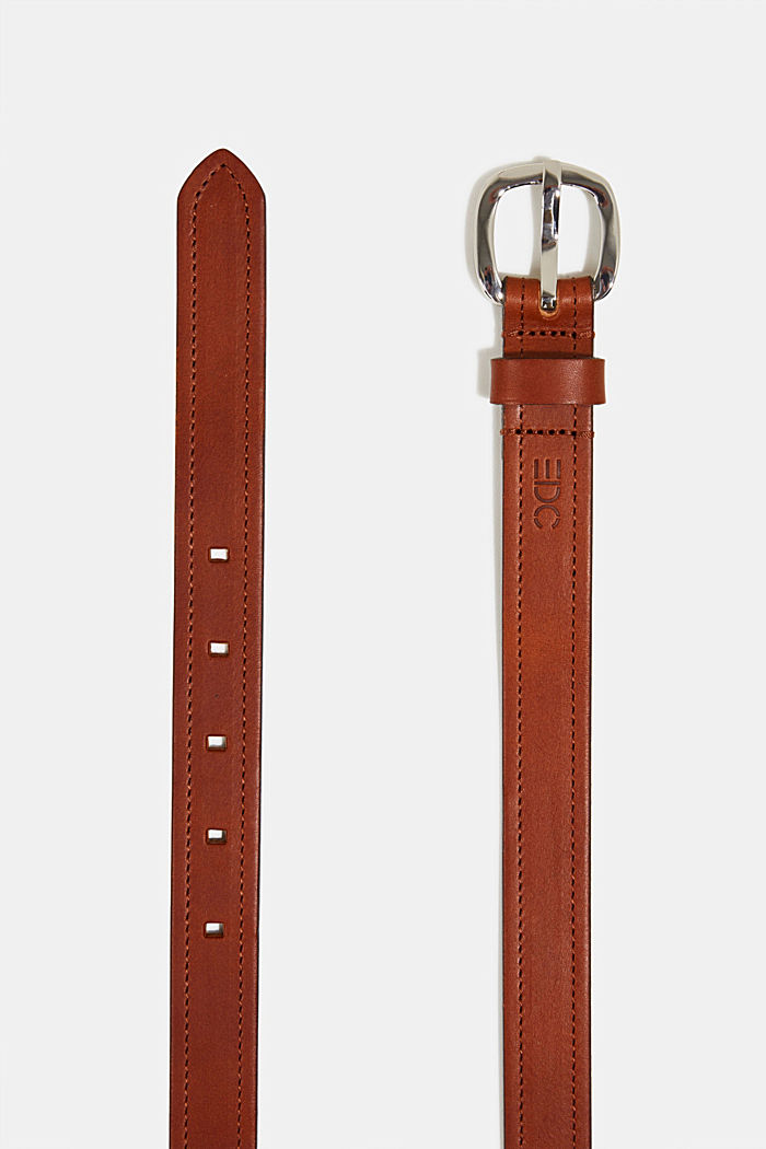 Leather belt with decorative stitching, TERRACOTTA, detail image number 1
