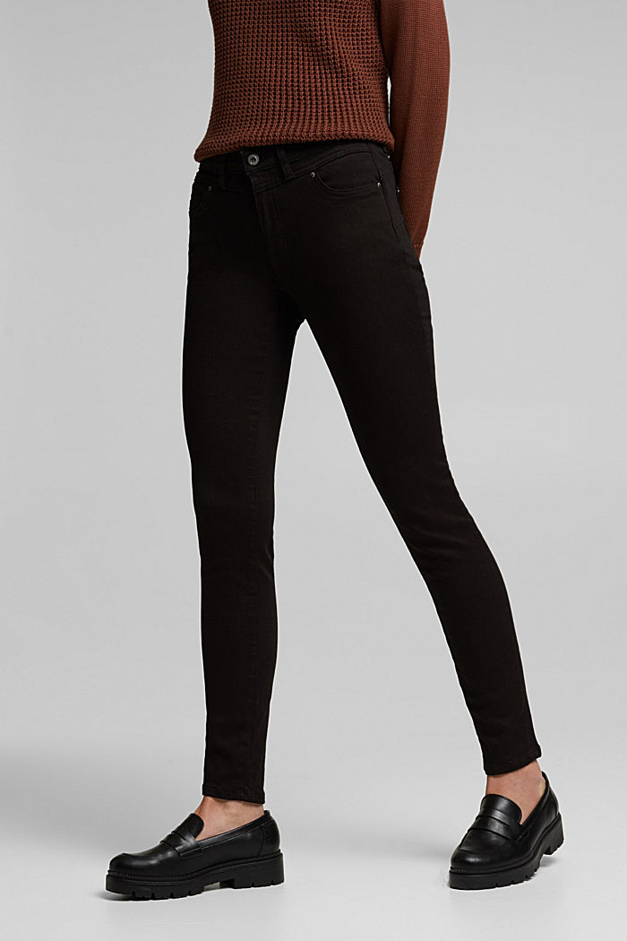 Figure flattering jeans with organic cotton, BLACK RINSE, overview