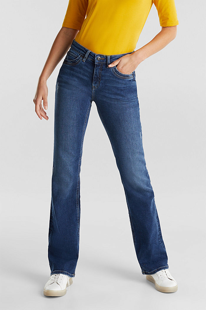 Bootcut jeans with vintage details, BLUE DARK WASHED, detail image number 0