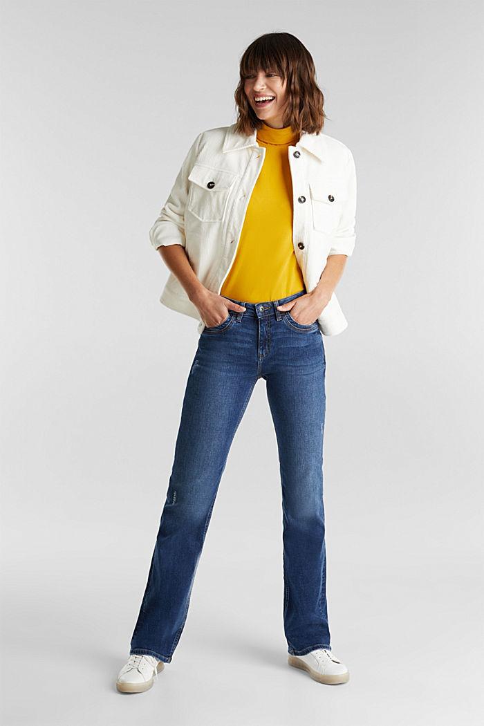 Bootcut jeans with vintage details, BLUE DARK WASHED, detail image number 1