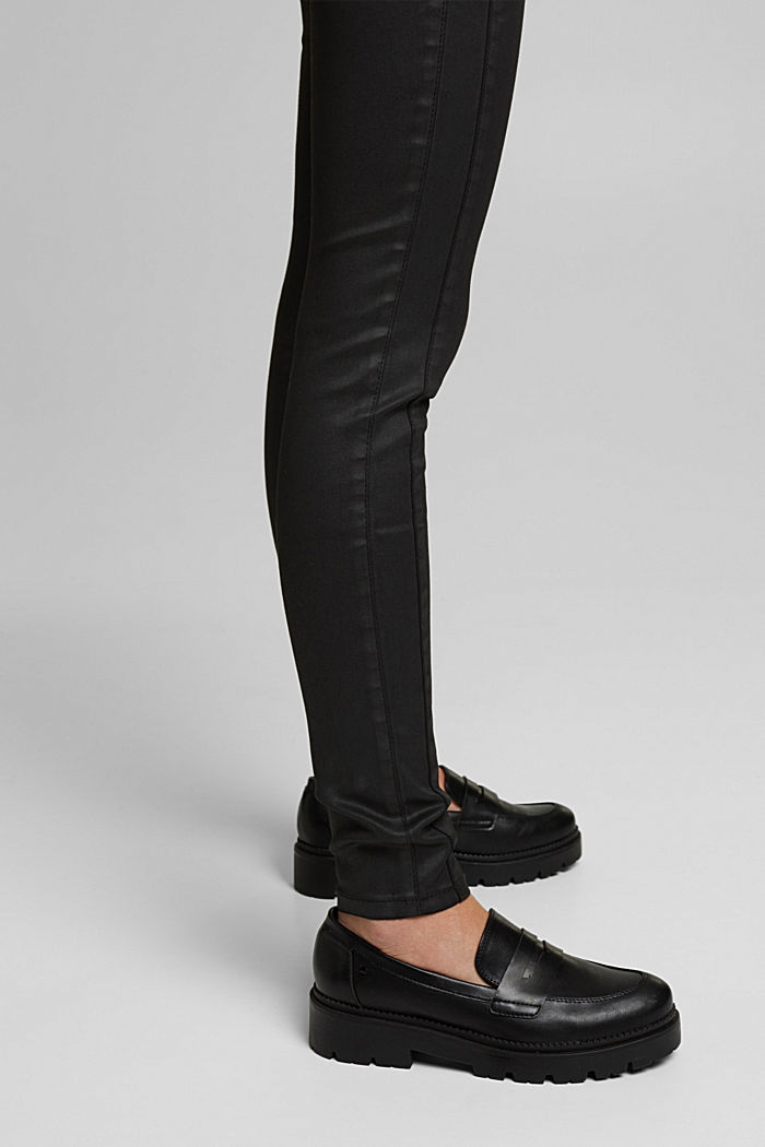 Coated trousers with decorative stitching, BLACK, detail image number 5