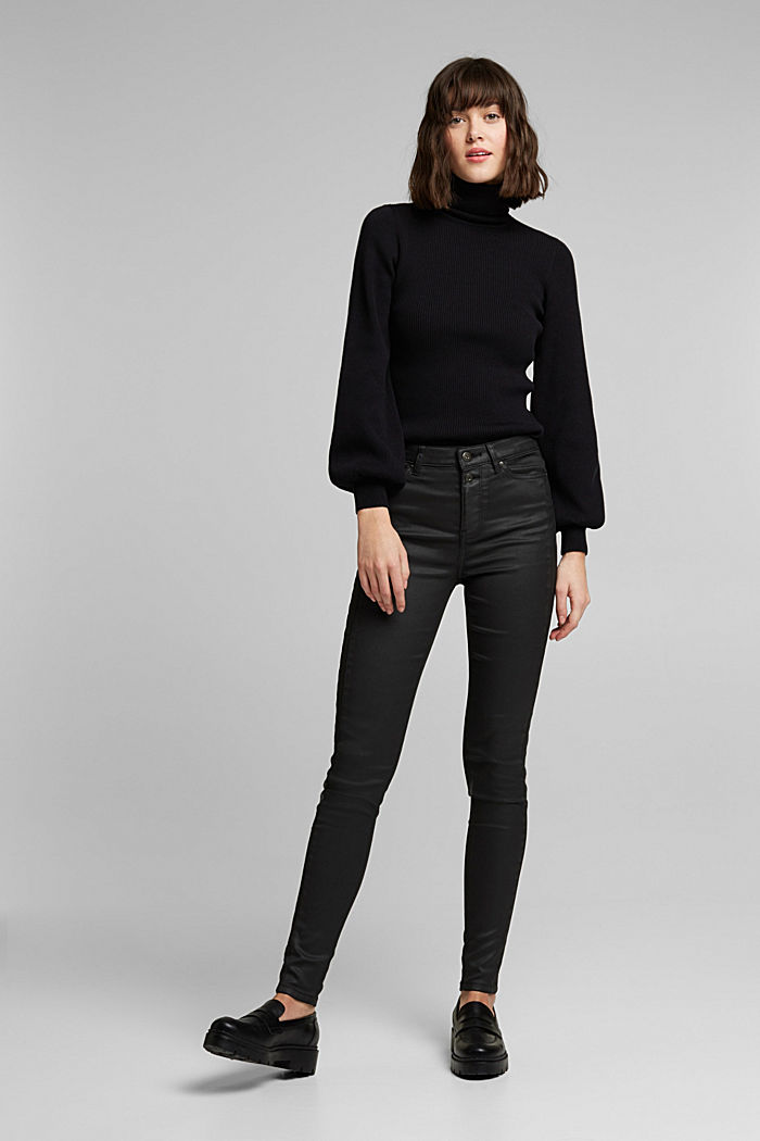 Coated trousers with decorative stitching, BLACK, detail image number 1