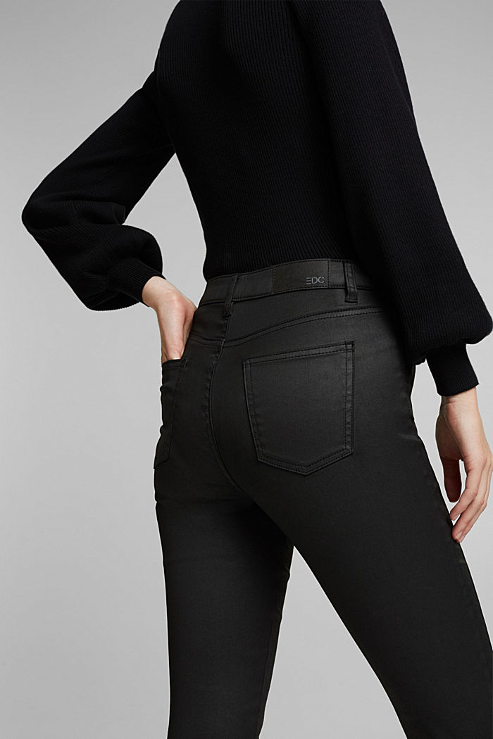 Coated trousers with decorative stitching, BLACK, detail image number 6