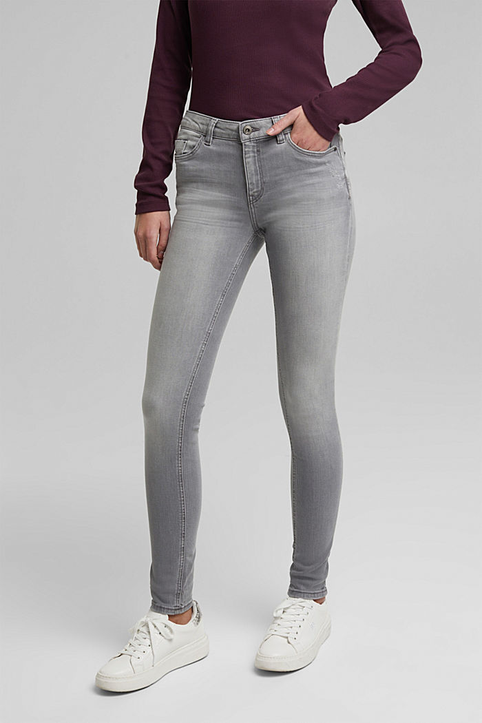 Stretch jeans containing organic cotton, GREY MEDIUM WASHED, overview
