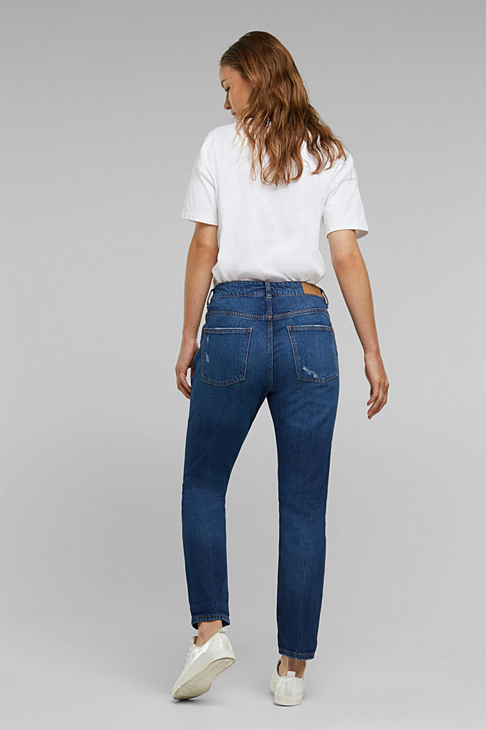 Boyfriend jeans with organic cotton, BLUE DARK WASHED, detail image number 3