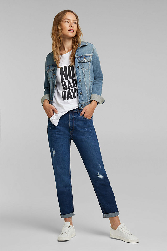 Boyfriend jeans with organic cotton, BLUE DARK WASHED, detail image number 1