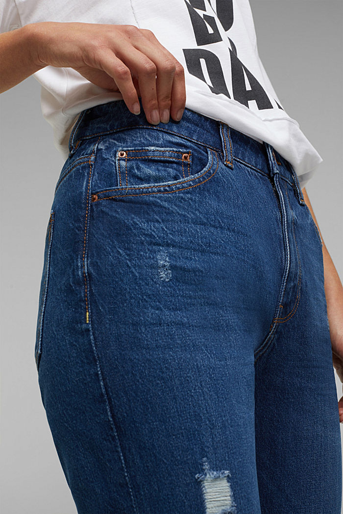 Boyfriend jeans with organic cotton, BLUE DARK WASHED, detail image number 5
