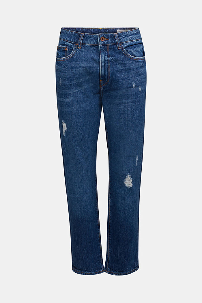 Boyfriend jeans with organic cotton, BLUE DARK WASHED, detail image number 7