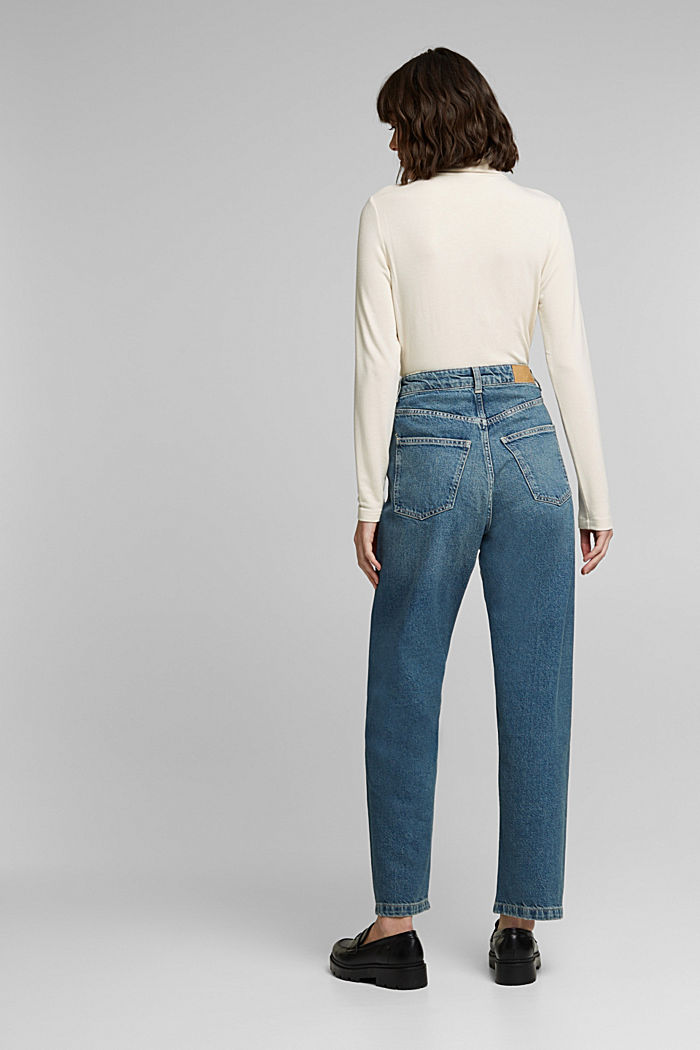 Straight jeans made of 100% cotton, BLUE MEDIUM WASHED, detail image number 3