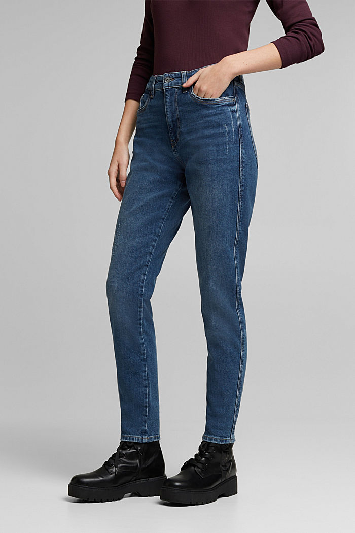 Mom jeans with stretch, BLUE DARK WASHED, detail image number 0