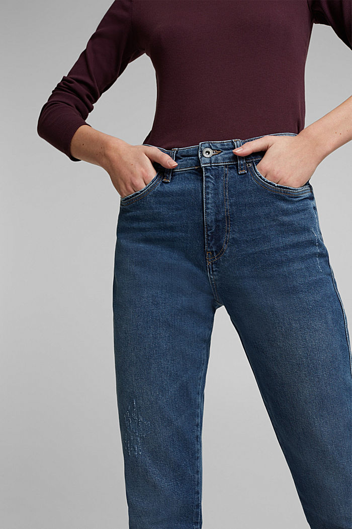 Mom jeans with stretch, BLUE DARK WASHED, detail image number 2