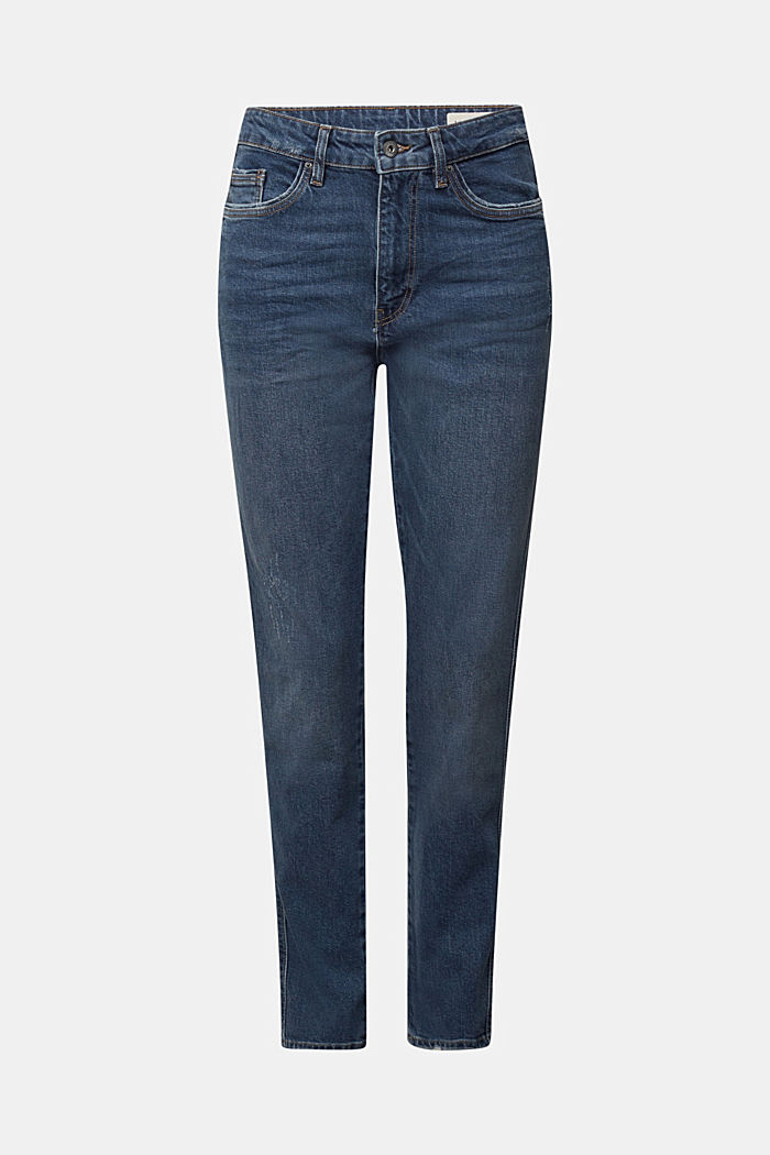 Mom jeans with stretch, BLUE DARK WASHED, overview