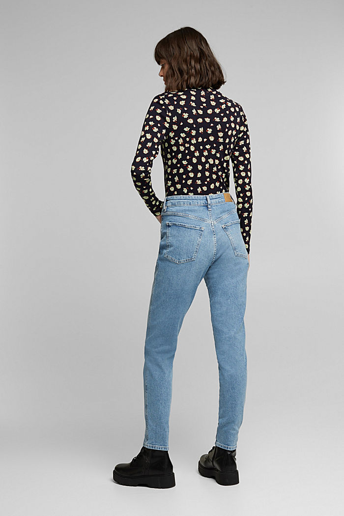 Mom jeans with stretch, BLUE MEDIUM WASHED, detail image number 3
