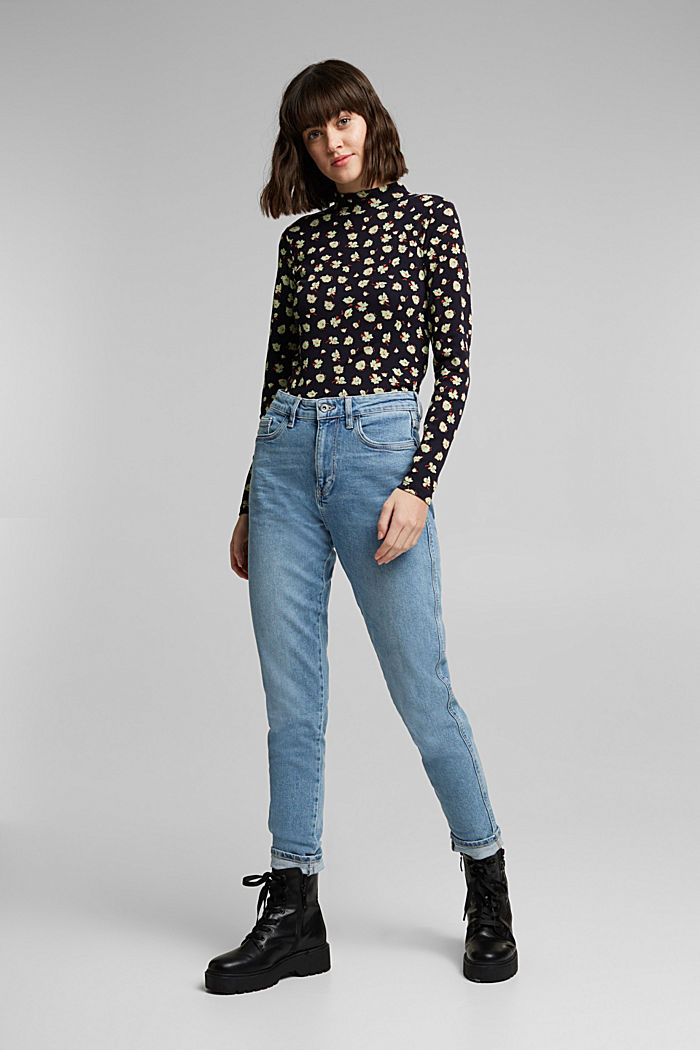 Mom jeans with stretch, BLUE MEDIUM WASHED, detail image number 1