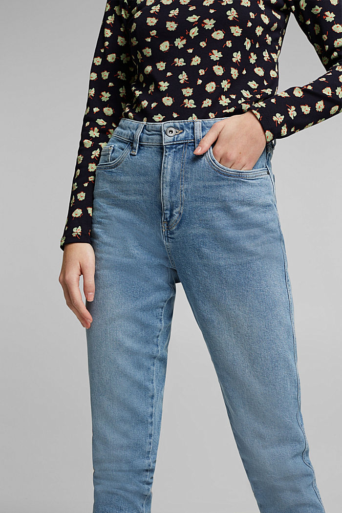 Mom jeans with stretch, BLUE MEDIUM WASHED, detail image number 2