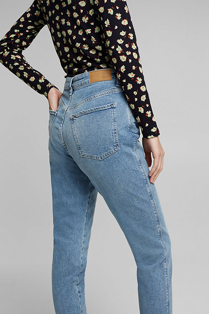 Mom jeans with stretch, BLUE MEDIUM WASHED, detail image number 5