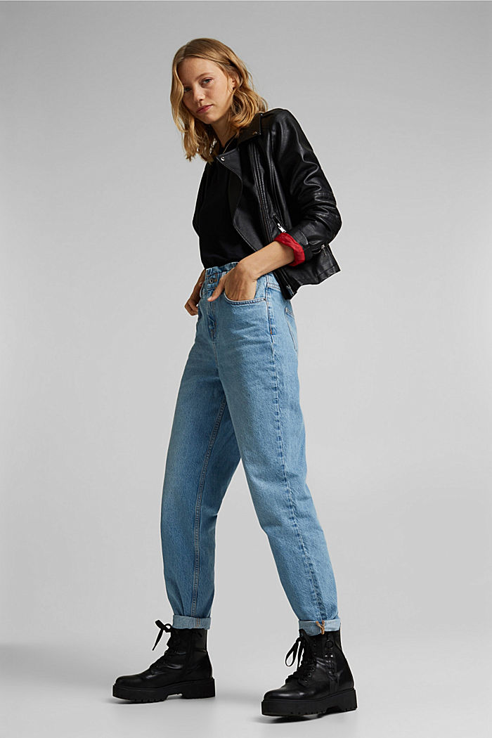 High-Rise-Jeans mit Organic Cotton, BLUE LIGHT WASHED, detail image number 1