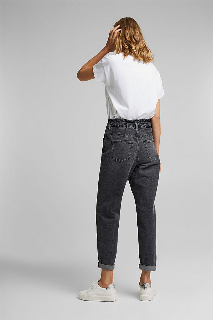 High-rise jeans with organic cotton, BLACK DARK WASHED, detail image number 3
