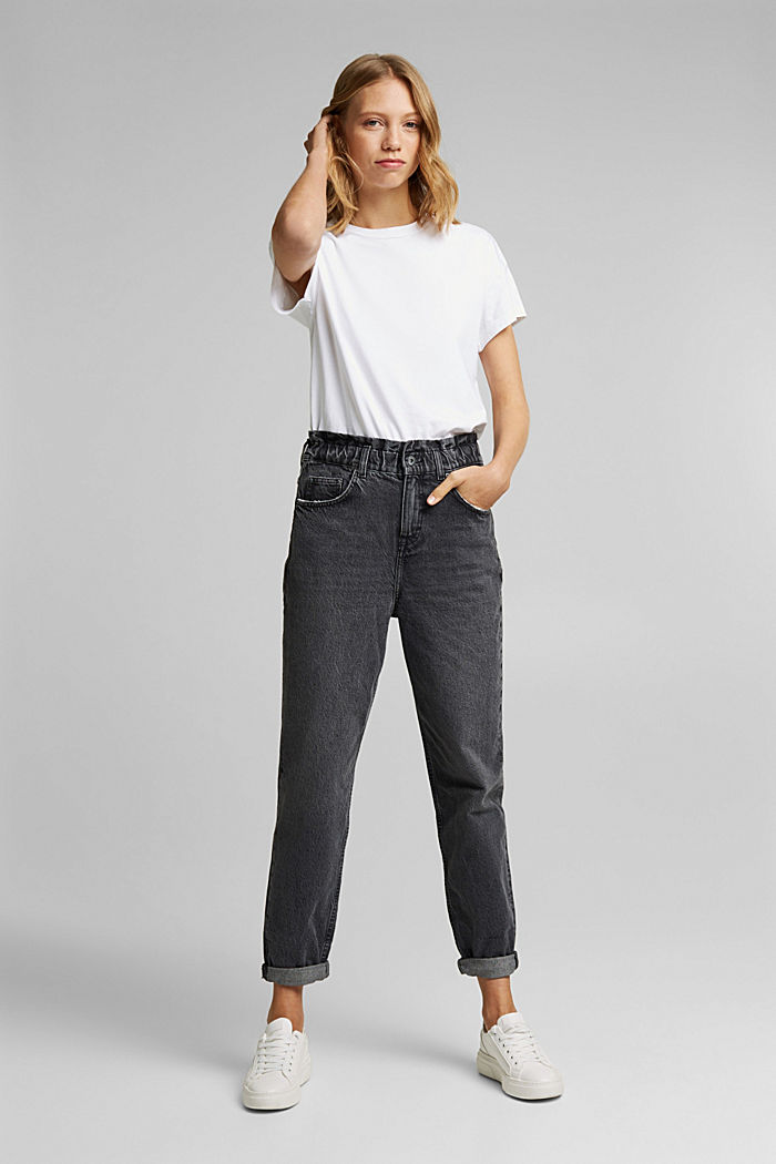 High-rise jeans with organic cotton, BLACK DARK WASHED, detail image number 6