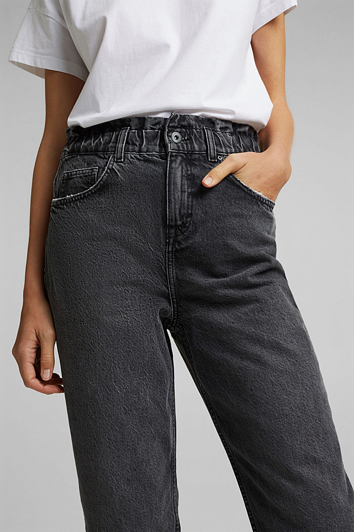High-rise jeans with organic cotton, BLACK DARK WASHED, detail image number 2