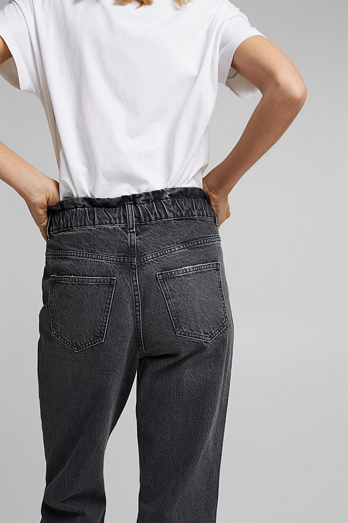 High-rise jeans with organic cotton, BLACK DARK WASHED, detail image number 5