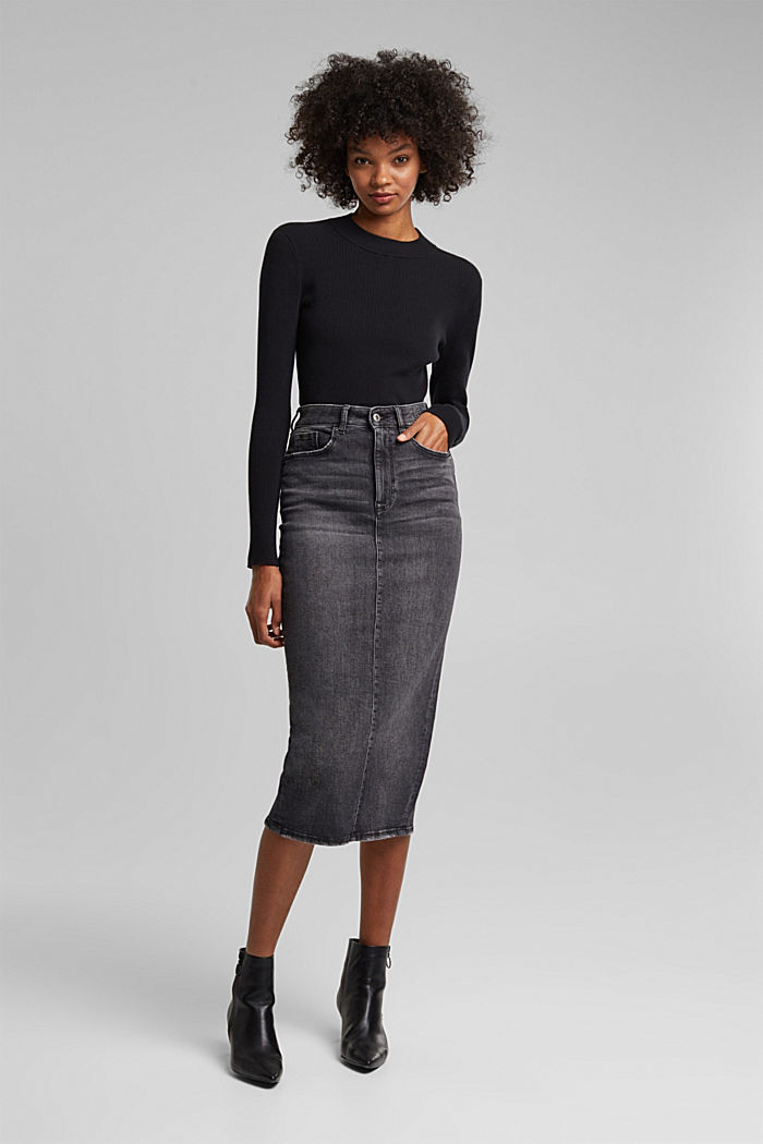 Denim skirt in organic cotton, BLACK MEDIUM WASHED, detail image number 0