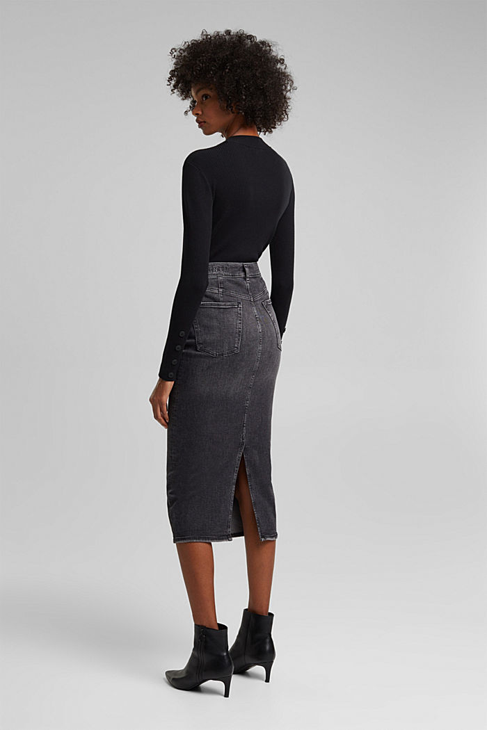 Denim skirt in organic cotton, BLACK MEDIUM WASHED, detail image number 3