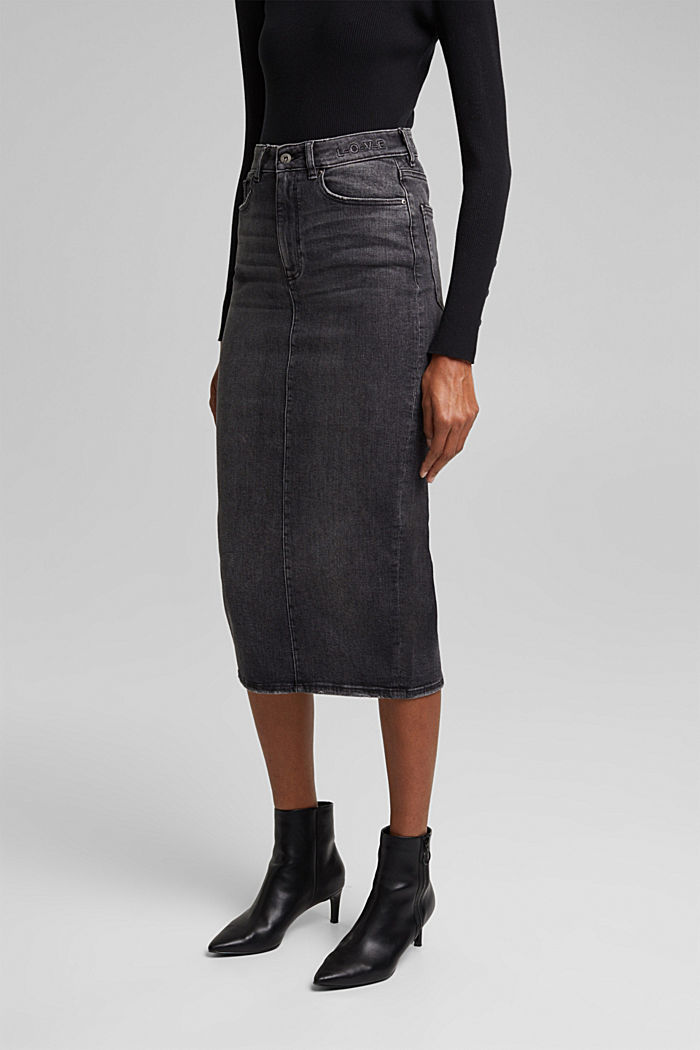 Denim skirt in organic cotton, BLACK MEDIUM WASHED, detail image number 6