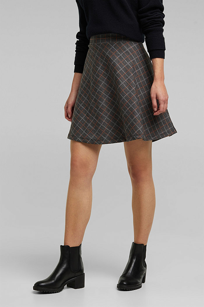 Recycled: checked jersey skirt, ANTHRACITE, overview
