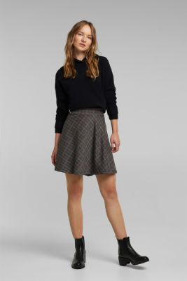 Recycled: checked jersey skirt, ANTHRACITE, detail