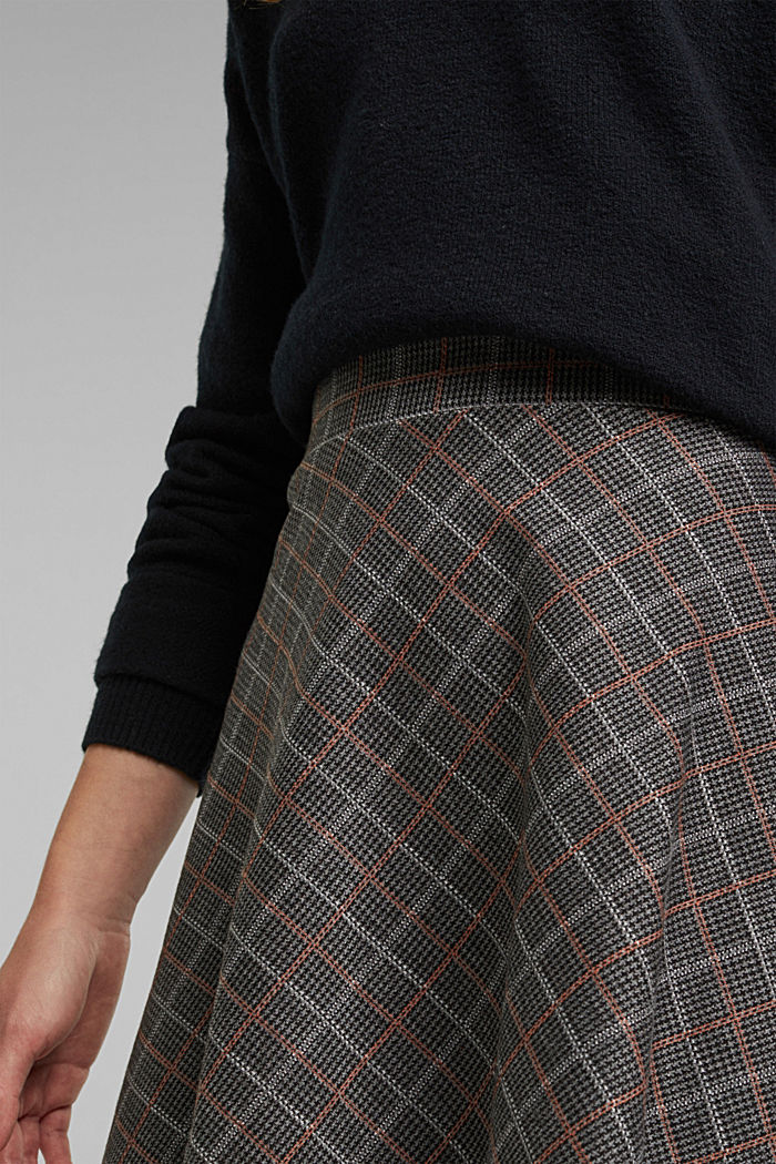 Recycled: checked jersey skirt, ANTHRACITE, detail image number 2