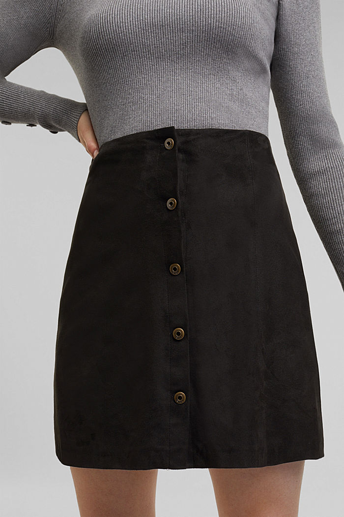 Recycled: Faux leather mini skirt, BLACK, detail image number 2