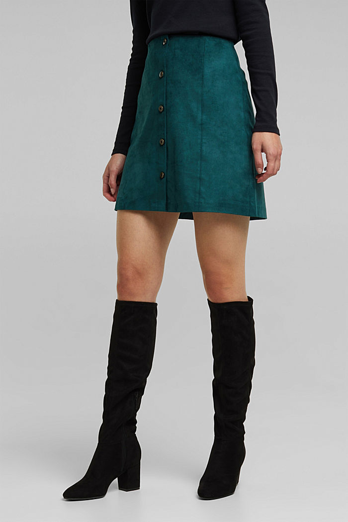 Recycled: Faux leather mini skirt, DARK TEAL GREEN, detail image number 0