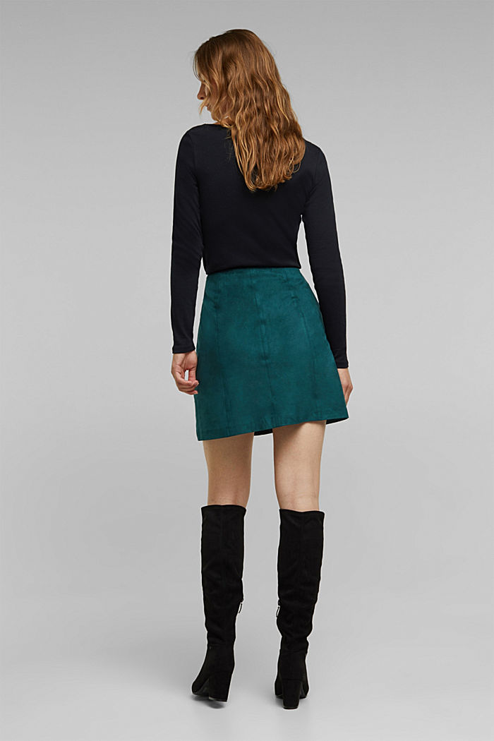 Recycled: Faux leather mini skirt, DARK TEAL GREEN, detail image number 3