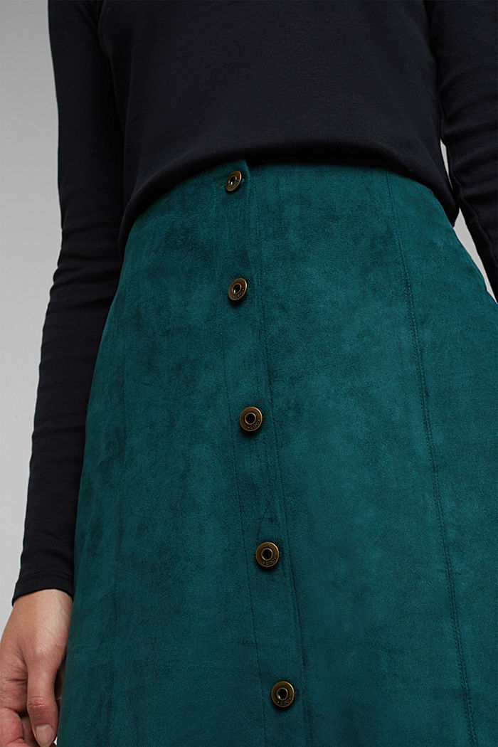 Recycled: Faux leather mini skirt, DARK TEAL GREEN, detail image number 2
