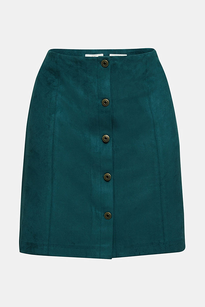 Recycled: Faux leather mini skirt, DARK TEAL GREEN, overview