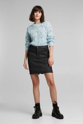 Coated jersey skirt, BLACK, detail