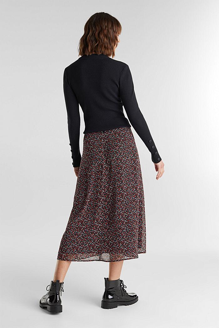 REPREVE® mille-fleurs chiffon skirt, BLACK, detail image number 3