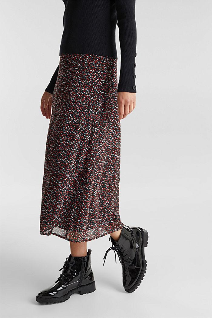 REPREVE® mille-fleurs chiffon skirt, BLACK, detail image number 5