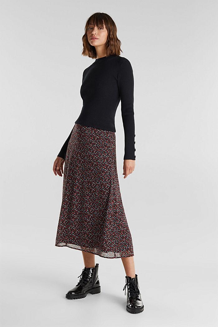 REPREVE® mille-fleurs chiffon skirt, BLACK, detail image number 1