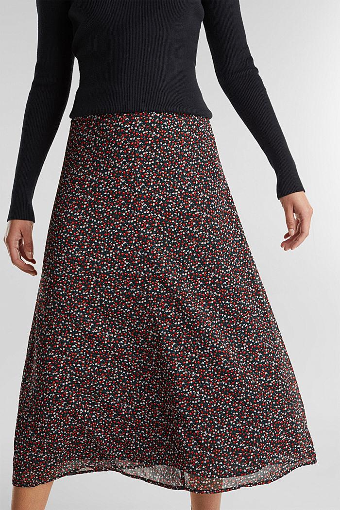 REPREVE® mille-fleurs chiffon skirt, BLACK, detail image number 2